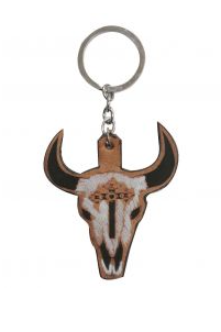 # DE1063 Leather Steer Skull / Porte-Clés Tete De Vache