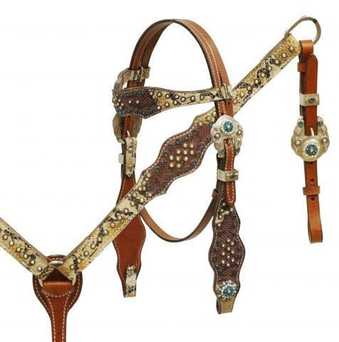 #HE0265 Headstall & breast collar / Bride & bricole SHOWMAN