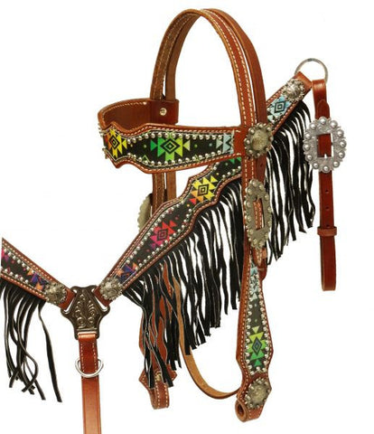 #HE0281 Headstall & breast collar / Bride & bricole SHOWMAN