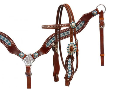 #HE0366 Headstall set / Ensemble de bride SHOWMAN