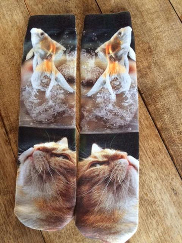 #OJ0052 Cat and fist socks / Bas chat et poisson