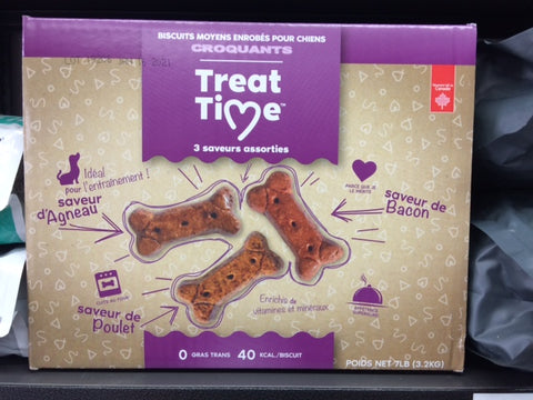 #CN0057 Biscuits pour chien TREAT TIME moyen assortis 7 lbs
