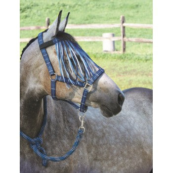 #HA0262 Padded halter with lead and fly fringe / Licou rembouré avec laisse et franges