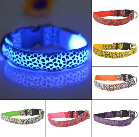 #PET0019 LED Nylon Pet Dog Collar / Collier à chien en nylon avec lumière LED