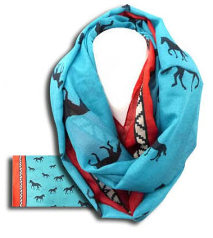 #VT0629 Scarf with horse / Foulard avec chevaux