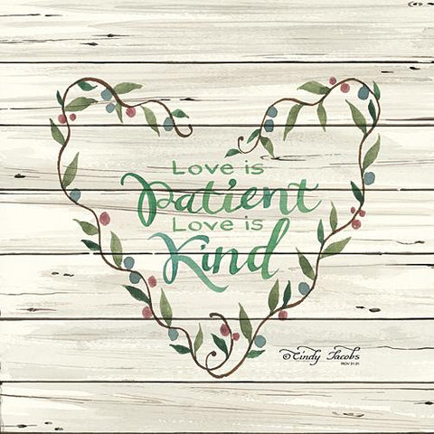"""LOVE IS PATIENT HEART WREATH"" Art Print-Framed- Plaque"