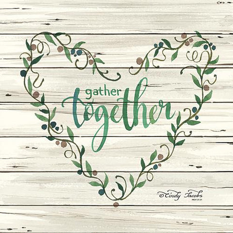 """GATHER TOGETHER HEART WREATH"" Art Print-Framed- Plaque"