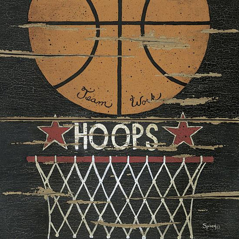 """HOOPS"" Art Print-Framed- Plaque"