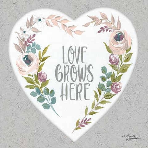 """LOVE GROWS HERE"" Art Print-Framed- Plaque"