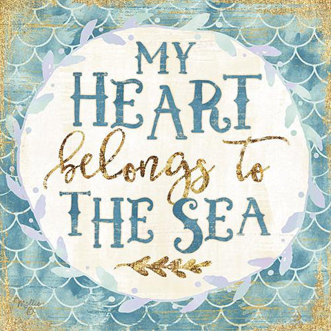 """MY HEART BELONGS TO THE SEA"" Art Print-Framed- Plaque"