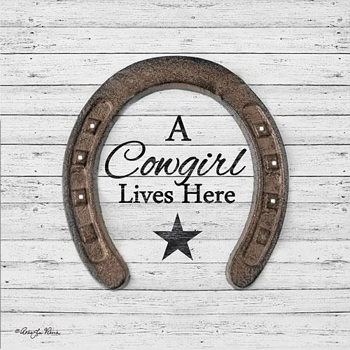 """A COWGIRL LIVES HERE"" Art Print-Framed- Plaque"