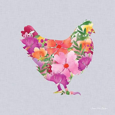 """FLORAL CHICKEN"" Art Print-Framed- Plaque"