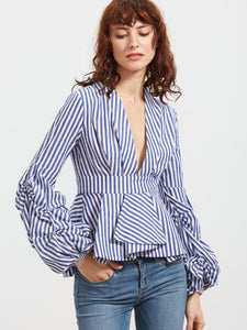 5ea8823f35c93 So Drama Sleeve Deep V-Neck Top – Twelve30 Connection