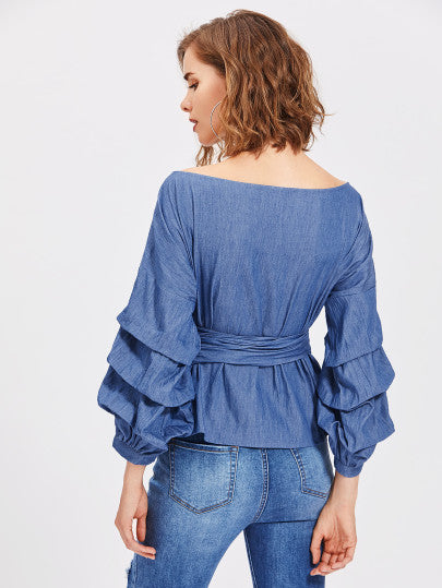 9452f759e1e37 ... Marisa Off The Shoulder Denim Wrap Top. Twelve30 Connection