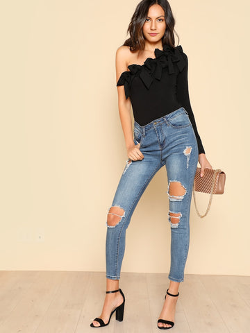 cb547c4530de9 Marisa Off The Shoulder Denim Wrap Top – Twelve30 Connection