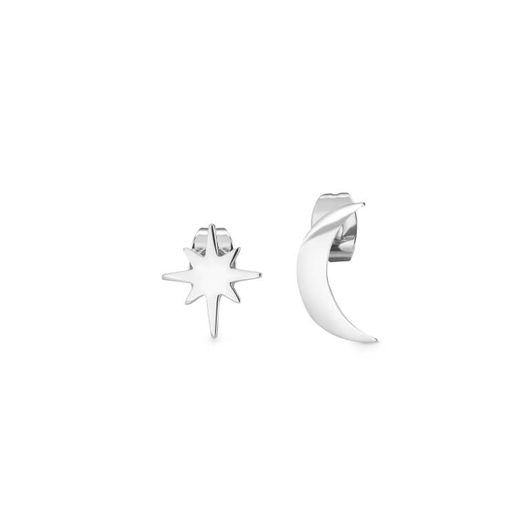 Moon & Star Stud Earrings / Silver