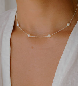 KA Moon Tide Pearl Necklace / Silver
