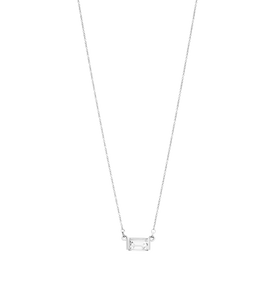 Baguette Necklace / Silver & White Topaz