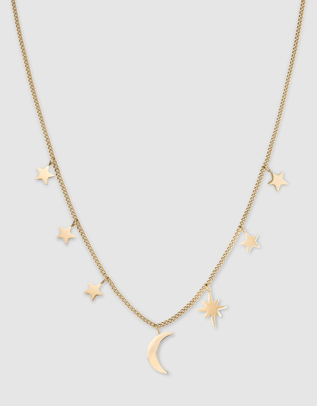 Multi Star & Moon Necklace / Gold Plated