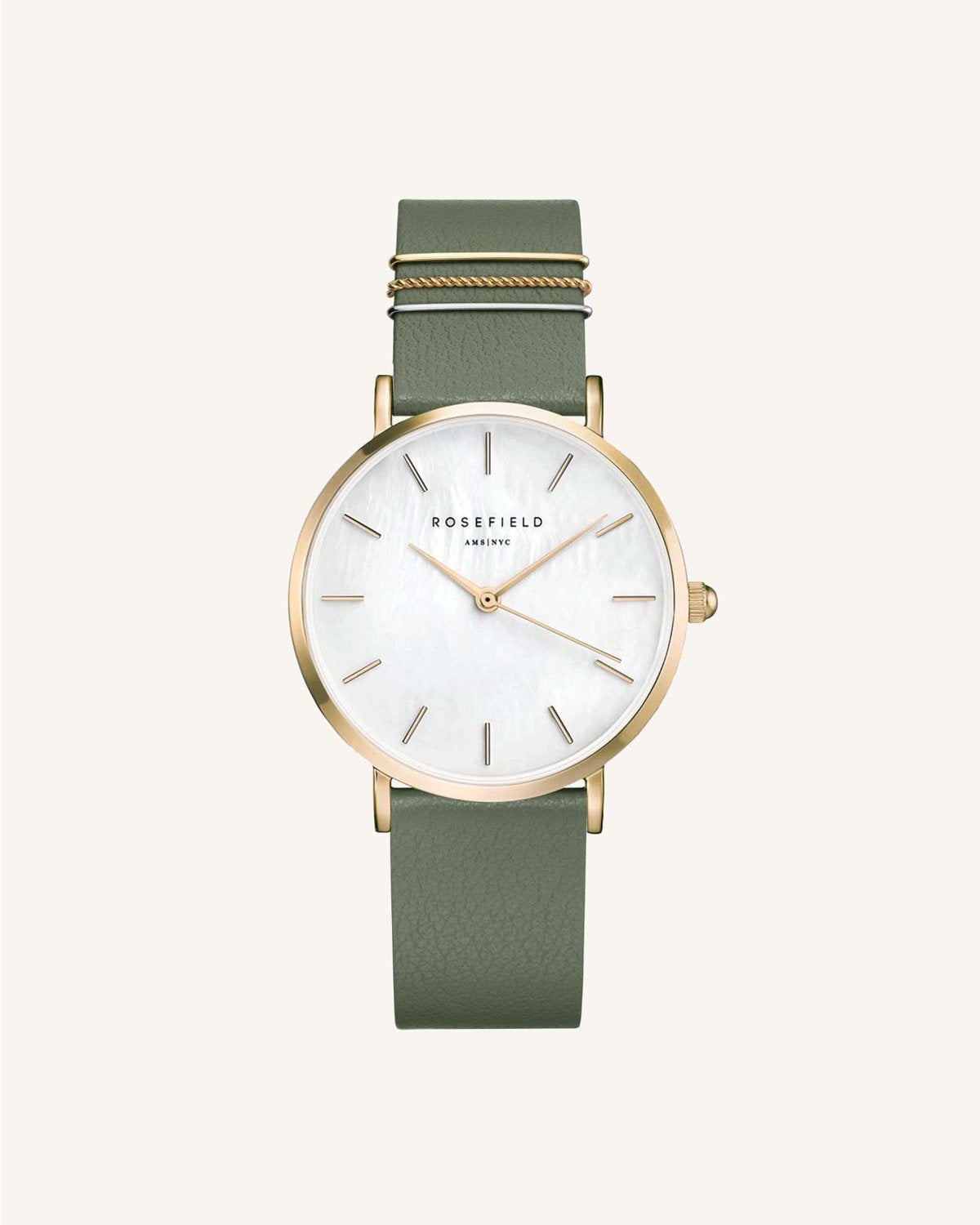 West Village Watch / Olive Strap Gold Face