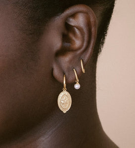 Palm Coin Hoops / Gold Plated