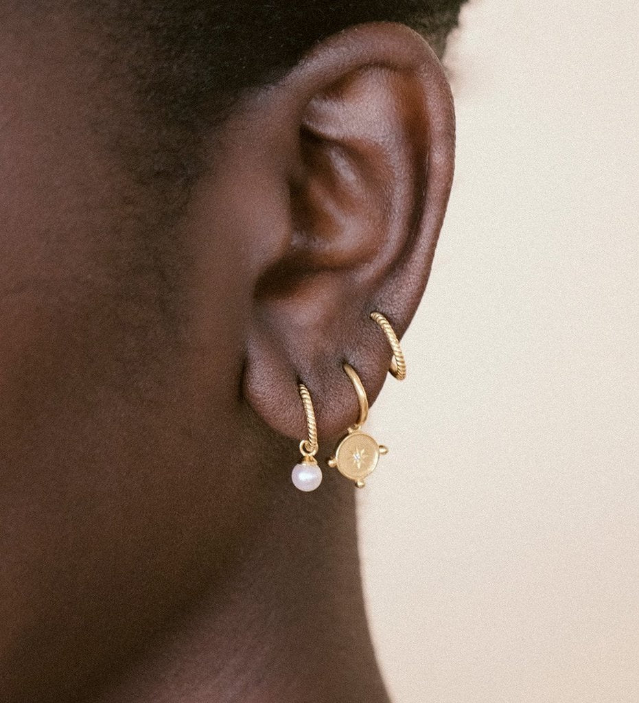 Tiny Pearl Hoops / Gold Plated