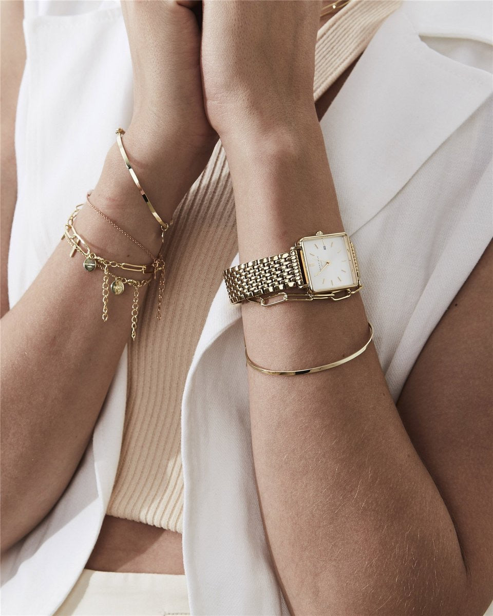 Boxy Watch / Gold Bracelet