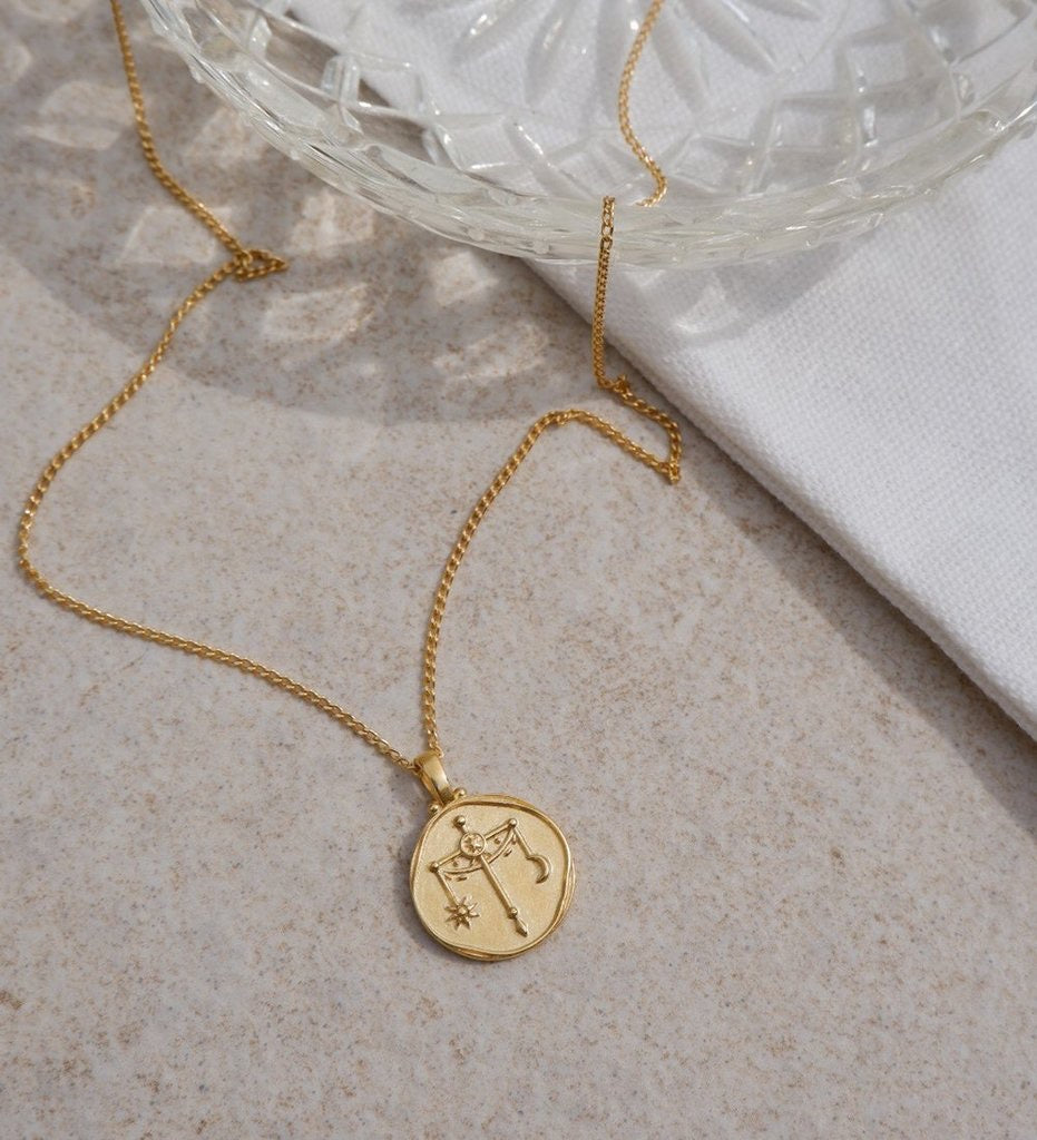 Libra Zodiac Necklace / Gold Plated