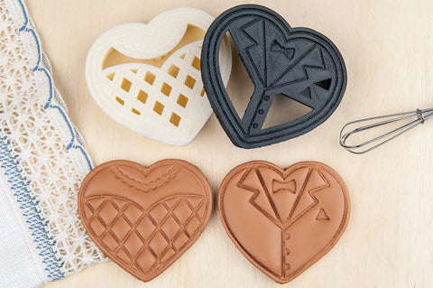 Bride and Groom Heart Wedding Cookie Cutters