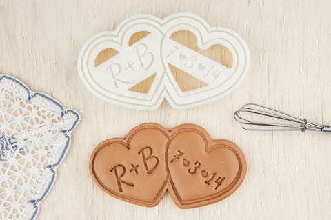 Name and Date Double Heart Wedding Personalized Cookie Cutter