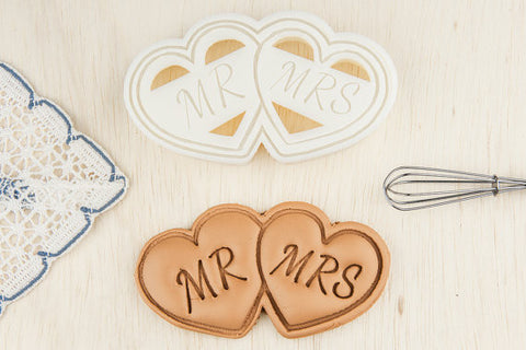 Mr and Mrs Double Heart Wedding Cookie Cutters