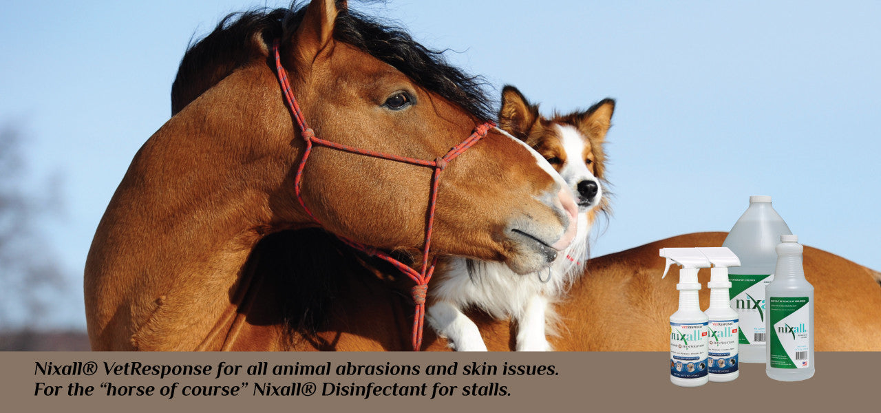 Nixall VetResponse® for all animal grooming. Nixall® Disinfectant/Sanitizer for stalls.