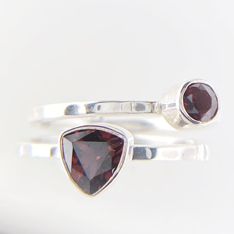 Garnet Single Stacking Rings