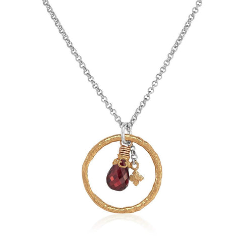 Anna Garnet Charm Necklace