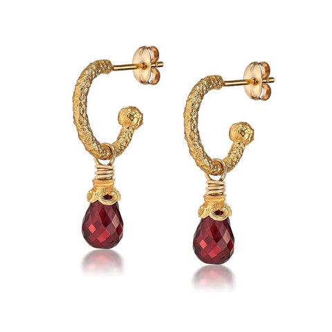 Anna Garnet Hoop Drop Earrings