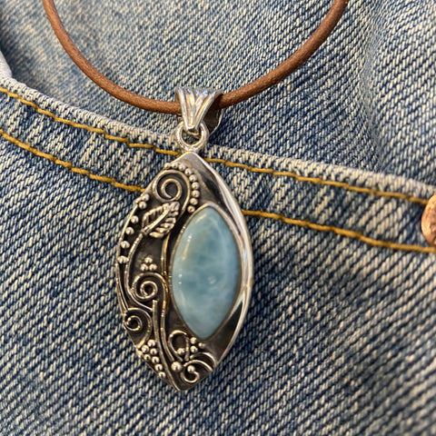 Larimar pendant in Sterling Silver with handmade granulation and wire work