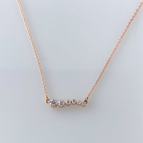 Rose Gold Graduated Bar Necklace