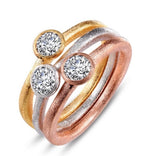 Stacking Rings! Brushed finish silver with bezel set cubic zirconia with yellow and rose gold plating!