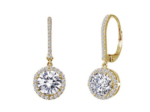 Sterling Cz Leverback Halo Earrings