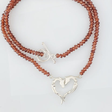 Gemstone Ribbon Heart Necklace - Asymmetrical