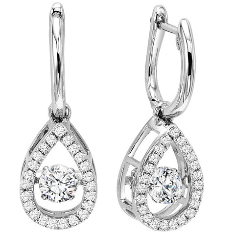 Diamond 10k white gold dangle earrings