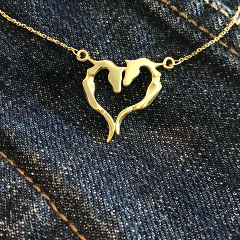 Ribbon Heart Necklace - Asymmetrical