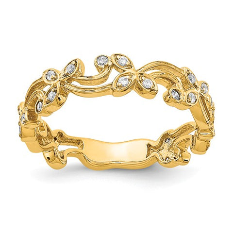 Diamond Filigree Band in 14K Yellow Band