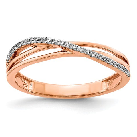 Rose gold and diamond cross cross band in 14k
