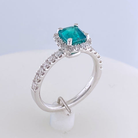 Halo Emerald and Diamond Ring