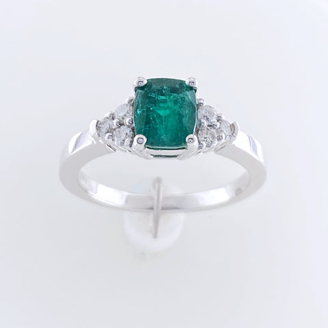 Accented Emerald and Diamond Ring
