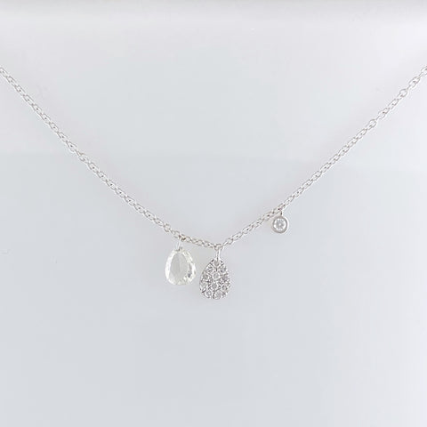 Pear Shaped Diamond Station Necklace