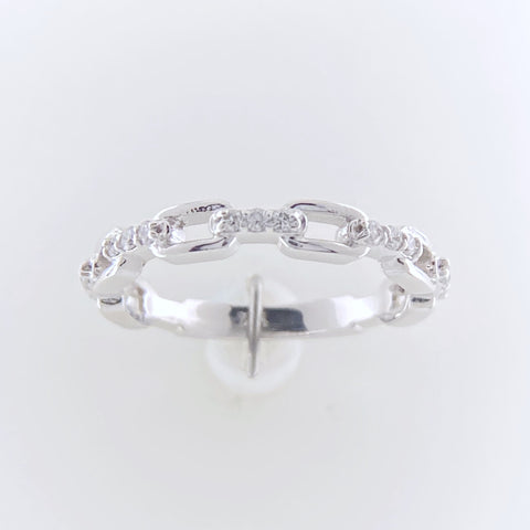 White Gold Stacking 'Chain' Ring