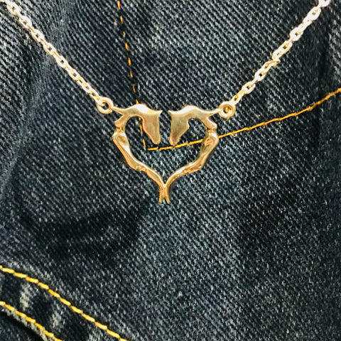 Ribbon Heart Necklace - Symmetrical
