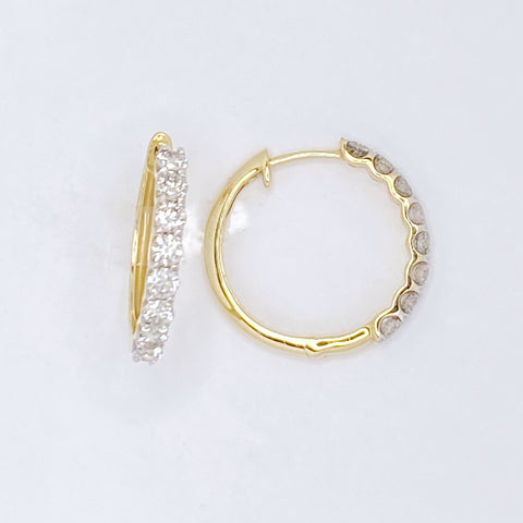 Single Row Diamond Hoops